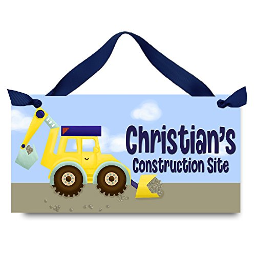 Toad and Lily Backhoe Construction Zone Boys Bedroom Personalized Door Sign DOOR SIGN DS0289