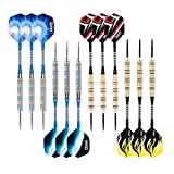 ONE80 Steel Tip Darts Set, 18 grams, 12 Pack Steel Barrel, with Extra Flights and Shafts