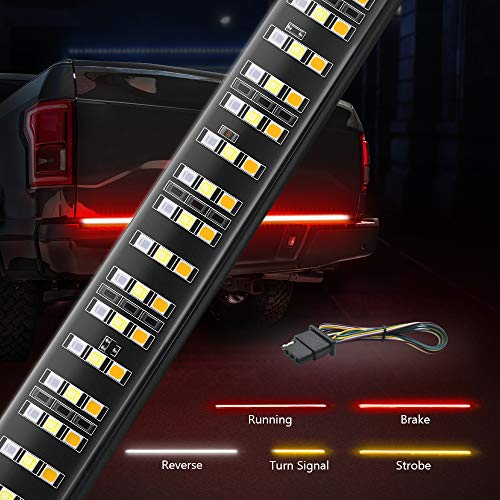 MICTUNING 60 inches Triple 504 LEDs Tailgate Strip Light Waterproof with Free 4-Way Flat Connector Wire - Solid Amber Turn Signal, Red Brake Running, White Reverse Lights