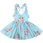 Flofallzique Blue Baby Girls Dress Vintage Girls Dress Toddler Girls Clothes Birthday Party Dress (1, Blue)