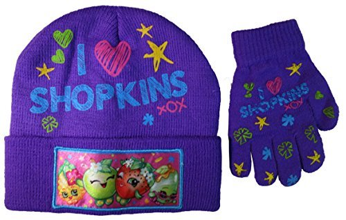 Shopkins Girls Purple I Love Shopkins Cuffed Hat and Gloves Set - Size 4-14 [4013]