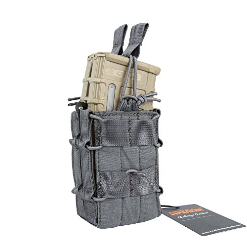 EXCELLENT ELITE SPANKER Open-Top Single/Double Mag Pouch for M4 M14 M16 AR15 Magazine(Grey)