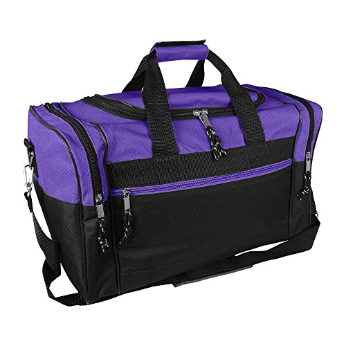 Blank Duffle Bag Duffel Bag in Black and Purple Gym (Duffle Bags For Girls)