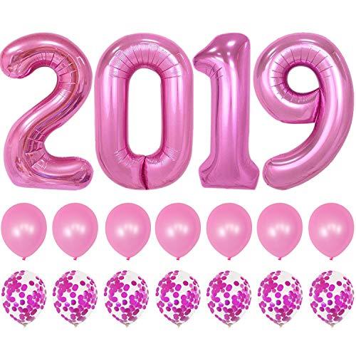 2019 Balloons Pink Confetti Balloon - Graduation Party Supplies 2019 | Graduation Decorations Pink | Large 2019 Balloons with 7 Pink Confetti Balloons and 7 Pink Latex Balloons | Graduation Balloons