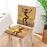 Mikihome 2 Piece Set Chair seat Pads Ethnic Lady in Ritual Dance Person in Psychedelic Style Figures Artisan Image Brown Dining Garden Patio Mat:W17 x H17/Backrest:W17 x H36