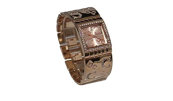 8cb522588c40 Ernest Dolce Vita - Estuche con reloj decorado con bisuteria rosa para mujer  y pulsera de cobre  Amazon.es  Relojes