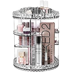 Sorbus Rotating Makeup Organizer, 360° Rotating Adjustable Carousel Storage for Cosmetics, Toiletries, and More — Great for Vanity, Bathroom, Bedroom, Closet, Kitchen (Clear)
