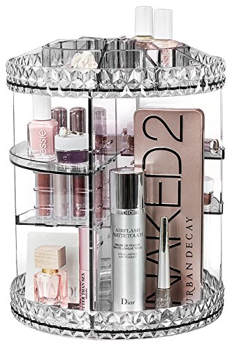 Sorbus Rotating Makeup Organizer, 360° Rotating Adjustable Carousel Storage for Cosmetics, Toiletries, and More — Great for Vanity, Bathroom, Bedroom, Closet, Kitchen (Clear) ()