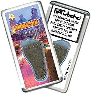 product image for Minneapolis FootWhere Souvenir Magnet. Authentic Destination Souvenir acknowledging Where You've Set Foot. Genuine Soil of Minneapolis encased Inside Foot Cavity. Made in USA (MNP206 - Twilight)
