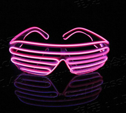 1d77b99d27 Amazon.com   Miyare Aquat Light-up Illuminated Neon Electroluminescent EL  Wire LED Glasses Light Shutter Frame Costumes Glasses Eyeglasses (Pink)    Garden   ...