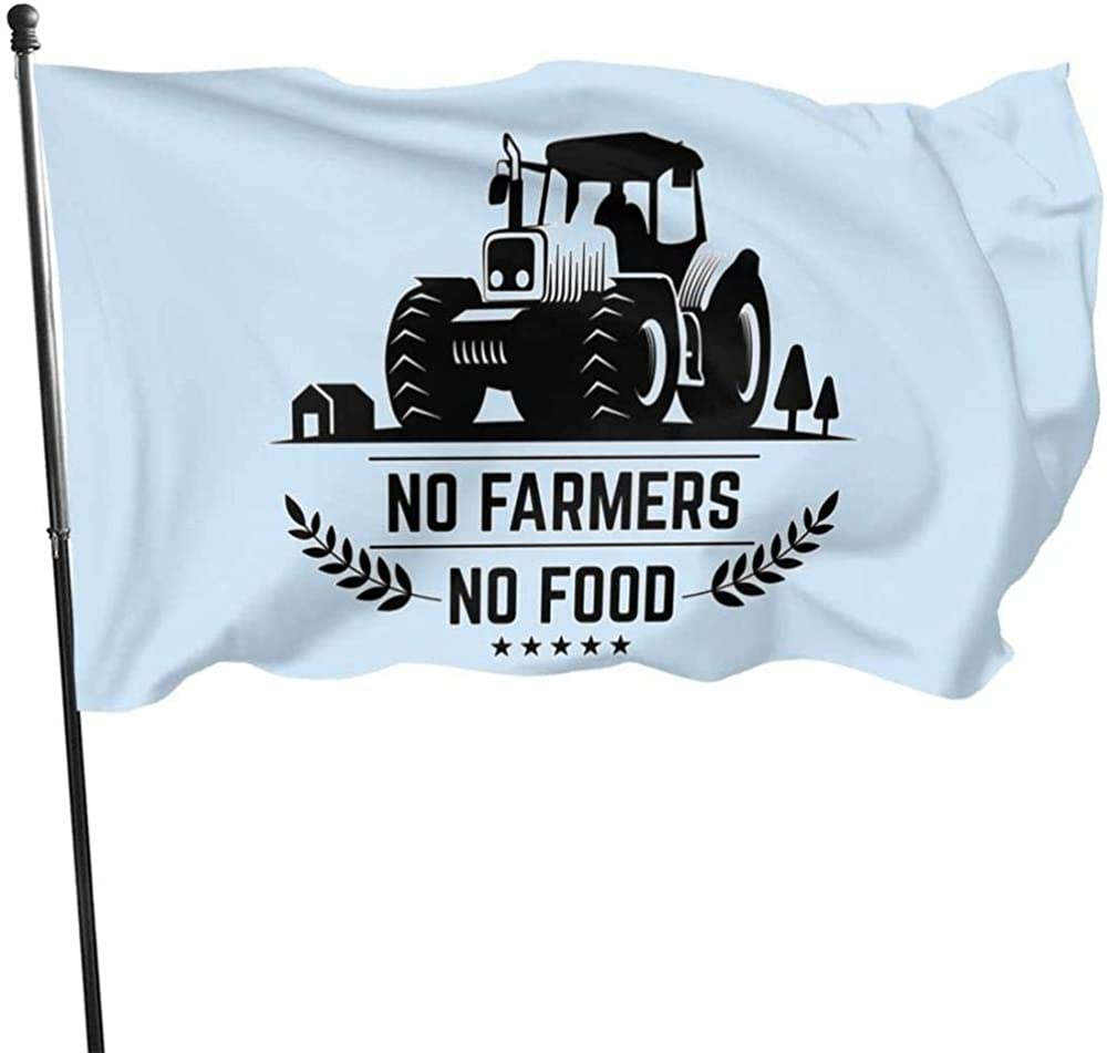 baodan Durable and Beautiful Garden Flag Parade Flag,No Farms No Food Farmer Truck 3x5 Ft Yard Flag Decorative Flag Fashion Black