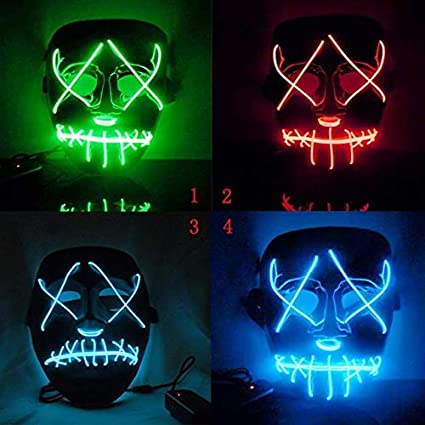 Masks - Halloween Mask Led Purge Election Funny Festival Costume Supply Glow Dark - Light Masque