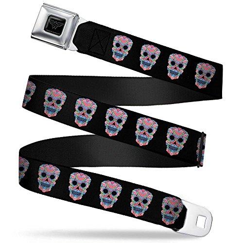 Buckle-Down Seatbelt Belt - Wonder Woman Floral Skull Black/Multi Pastel - 1.5