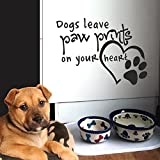 """Wall Decal Decor Dog Quote Paw Print Decal- Dogs Leave Paw Prints On Your Heart Vinyl Stickers Pet Lover Gift Dog Wall Art Sticker(dark gray, 16""""h x22""""w)"""