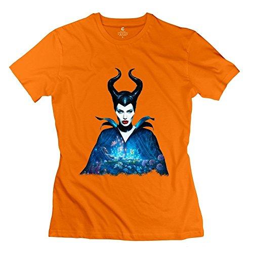 Custom Costumes Los Angeles (Women's Maleficent Costume Short Sleeve Tshirts Size S Orange)