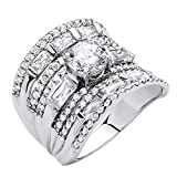 Round White Cubic Zirconia Platinum over .925 Sterling Silver Multi-Row Scoop Ring