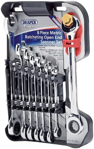 Draper 7 Piece Metric Ratchet Flexible Wrench Ring Open End Combination Spanners