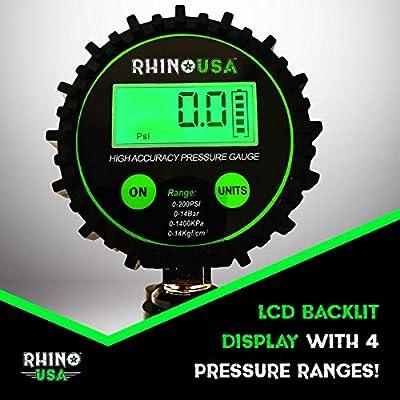 Rhino USA Digital Tire Inflator with Pressure Gauge (0-200 PSI) - ANSI B40.1 Accurate, Large 2