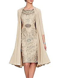 JYDRESS Women's Tea Party Mother of The Bride Dreamy Dresses Two Pieces with Jacket