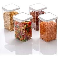 Machak 1100 ml Square Storage Kitchen Container Jar Set, (10x10x16.5 cm) Clear