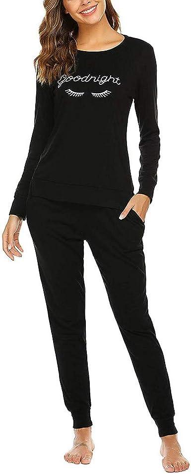 Pijama Invierno Mujer Algodon Camiseta de Mangas Larga + Pantalon Largo 2 Piezas Talla Grande Conjunto de Trajes Disfraz de Camisón Rendimiento Fannyfuny: Amazon.es: Ropa y accesorios