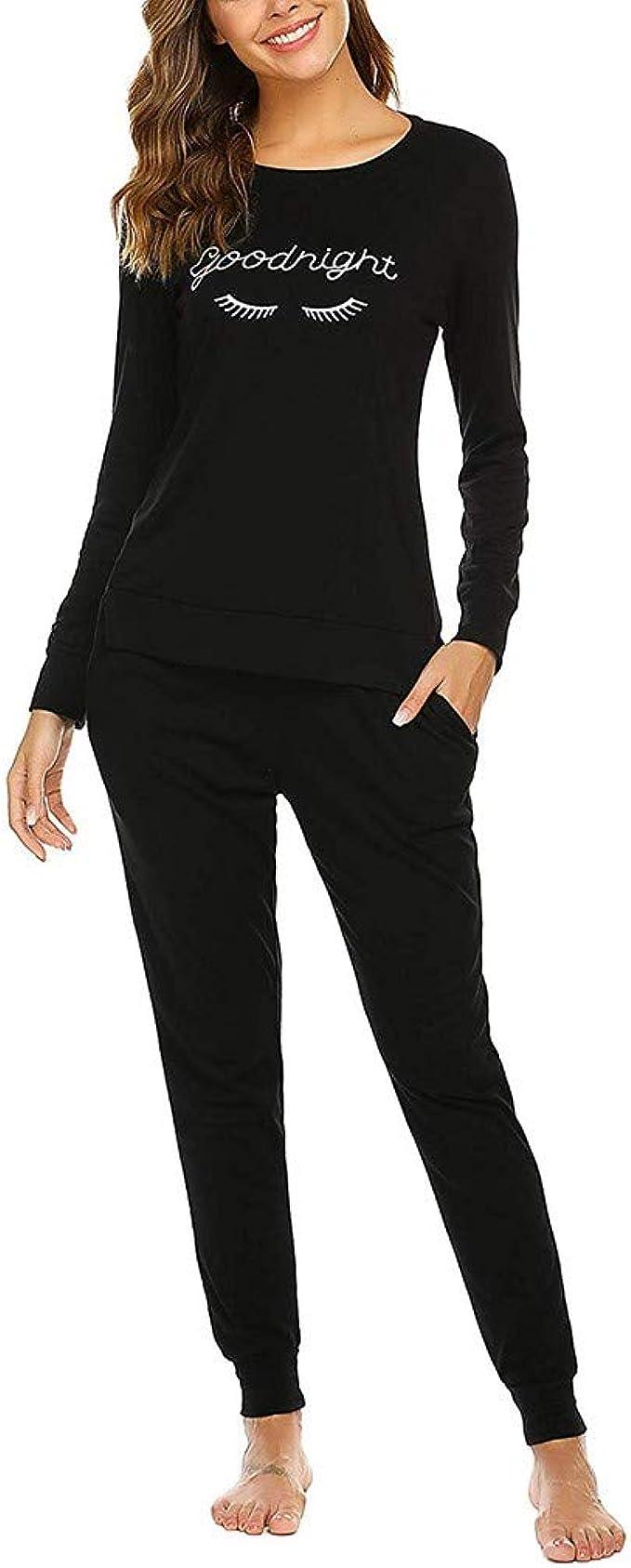 Pijama Invierno Mujer Algodon Camiseta de Mangas Larga + Pantalon ...