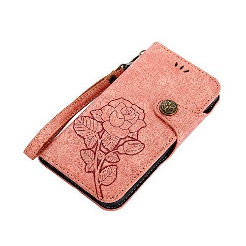 MEIRISHUN Leather Wallet Case Cover Carcasa Funda con Ranura de Tarjeta Cierre Magnético y función de soporte para Apple iPhone X - Verde claro Rosado