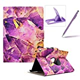 Wallet Folio Case for Amazon Kindle Paperwhite 1/2/3,Bookstyle Flip Pu Leather Case for Amazon Kindle Paperwhite 1/2/3,Herzzer Stylish Classic [Purple Crystal Marble Print] Stand Magnetic Smart Leather Case with Soft Inner for Amazon Kindle Paperwhite 1/2/3
