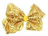 Girls Boutique Large Fashion Sequin Big Hair Bow Dance School Accessory-Gold