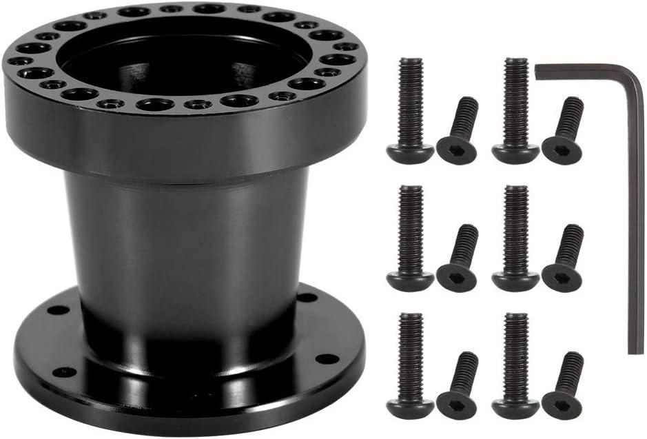 Adaptador de cubo del volante Coche universal de 3 pulgadas Eje del volante Espaciador de aluminio Adaptador de cubo del volante para el volante Color : Black