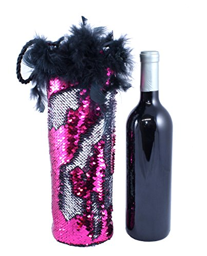 Hot Pink and Silver Reversible Sequins Diva Wine Bottle Bag with Feather Trim