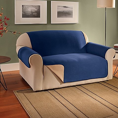 Innovative Textile Solutions Fleece Waterproof Reversible Loveseat Protector in Navy - Over Dual Reclining Loveseat
