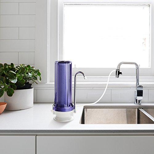 iSpring CKC1C Countertop Drinking Water Filtration System, Clear Housing - Includes 2.5''X10'' Carbon Block Filter