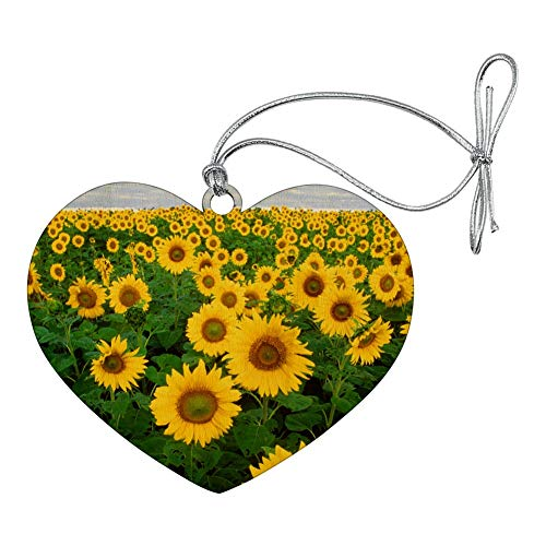 (GRAPHICS & MORE Field of Sunflowers Heart Love Wood Christmas Tree Holiday Ornament)