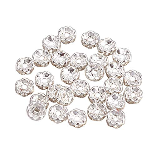 (PH PandaHall 1000pcs 6mm Clear Rhinestone Spacer Beads Grade B Crystal Rondelle Spacer Beads Silver Plated for Jewelry Making)