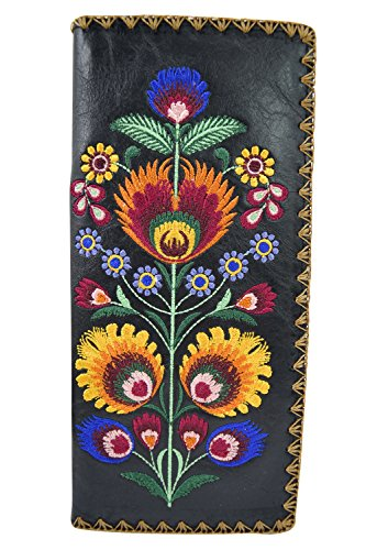 Lavishy Bohemian Colorful Flower Arrangement Embroidered Beautiful Large Wallet (Black)