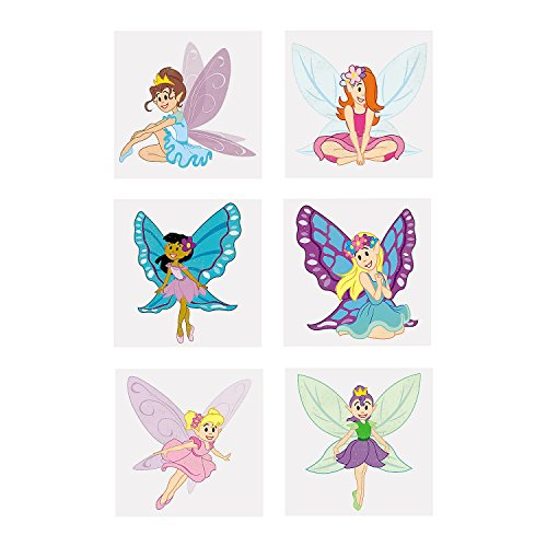 Fairy Princess Glitter - Fun Express - Fairy Princess Glitter Tattoos (6dz) - Apparel Accessories - Temporary Tattoos - Glitter Tattoos - 72 Pieces