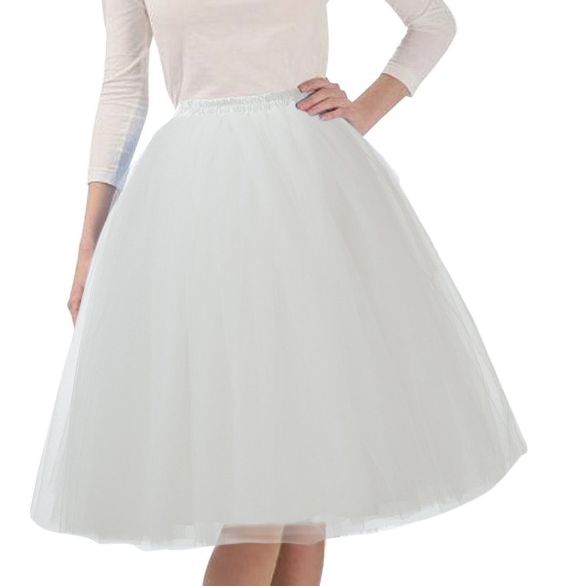 Quesera Women's Layered Tutu A Line Knee Length Elastic Waistband Puffy Tulle Skirt,White,Free size fit in 2-12