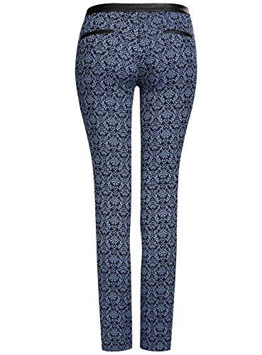 oodji Ultra Mujer Pantalones Stretch con Cintura de Piel Sintética Azul (2975J)