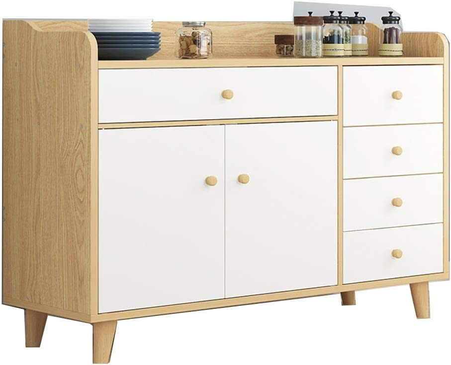 YADSHENG Sideboard Buffet Sideboard,Wood Storage Cabinet Console Table with Storage Shelf 6 Drawers and Cabinets Buffets & Sideboards (Color : Wood, Size : 100x37x98cm)