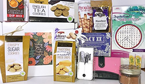 Women's Teen Girl Birthday Gift Box Basket - Woman Friend Mom Wife Girlfriend Daughter Grandma Aunt Sister - Send Your Happy Birthday Wishes With These Feminine Gifts and Tasty Treats - Basket Brew Peoples