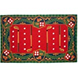 123 Creations Whimsical Golf Hook Area Rug, 3′ x 5′, Red/Green