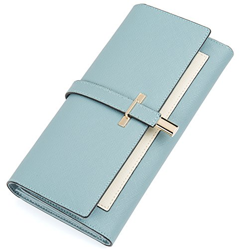 Wallet Womens Blue (Clearance RFID Blocking Leather Wallet for Women Slim Clutch Purse Long Designer Trifold Ladies Credit Card Holder Organizer Light Blue)