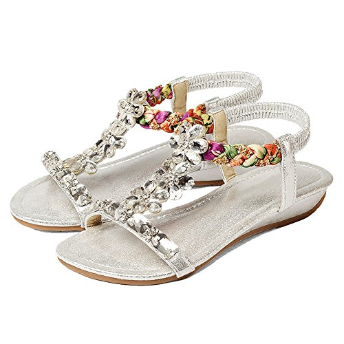 Sandalias romanas UK4 5 bohemio Amazing zapatos imitación Casual A playa diamantes Tamaño de femenina de 5 de EU37 estilo A simple Color CN37 de pendiente con sandalias chanclas 5gagf