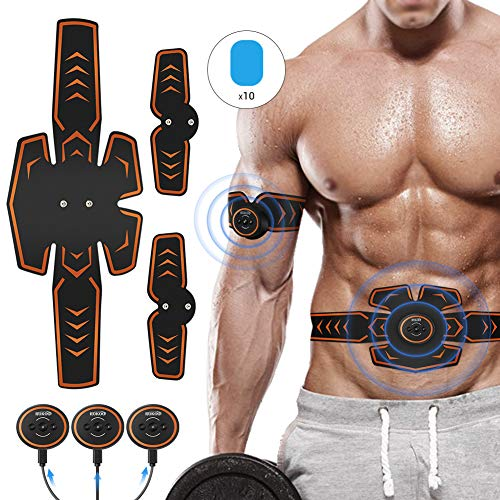 ROKOO Abs Stimulator Muscle Trainer Equipment with 10 Gel Pads, EMS Abdominal Toning Belt for Men...