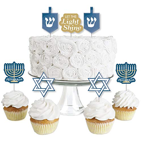 Happy Hanukkah - Dessert Cupcake Toppers - Chanukah Clear Treat Picks - Set of 24]()