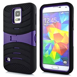 Plastic Silicone Armor Protective Cover Skin Case with Kickstand for Samsung Galaxy S5 SV Purple