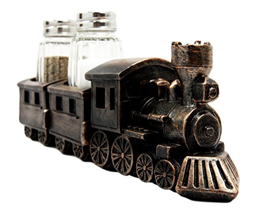 Atlantic Collectibles Bronzed Resin Railroad Express Locomotive Train Salt Pepper Shakers Holder Figurine Set 8.5