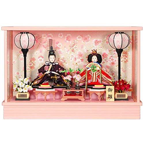 雛人形 親王ケース入り 【芥子】セット(2人)[幅51cm] ピンク塗[sb-9-124] 雛祭り   B07KVWT2N6