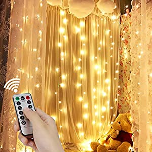 Curtain Icicle Lights, String Lights 9.8 X 9.8ft 300 LED Starry Fairy Lights Remote Control 8 Modes&Timer For Wedding…